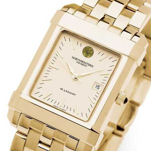 615789470274: Northwestern Men's Gold Quad Watch with Bracelet