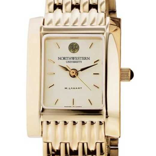 615789694298: Northwestern Women's Gold Quad Watch with Bracelet