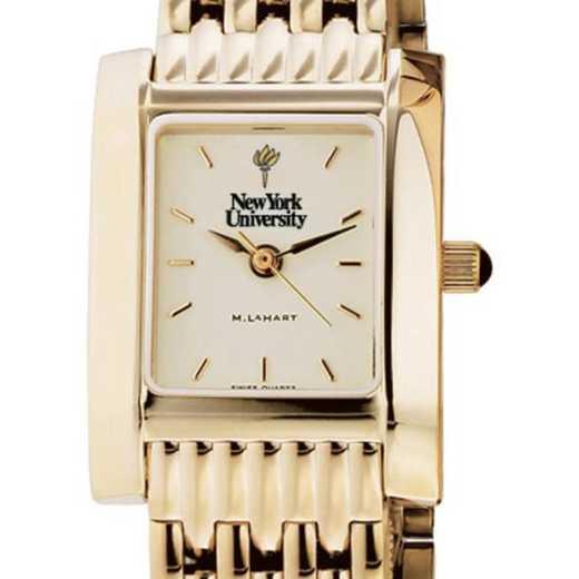 615789354215: NYU Women's Gold Quad Watch with Bracelet