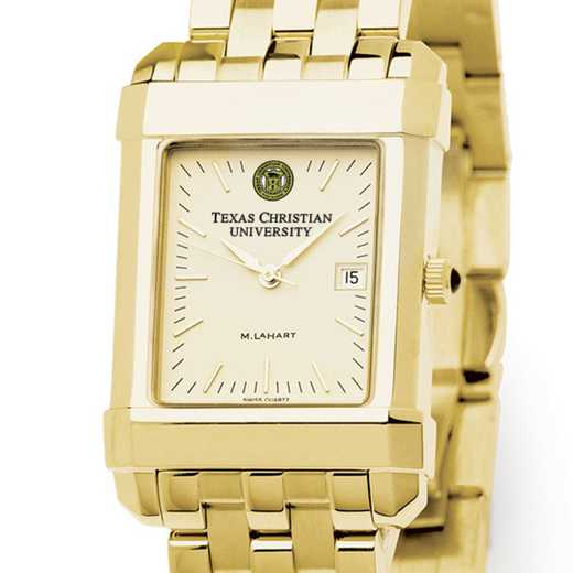 615789769712: TCU Men's Gold Quad Watch with Bracelet