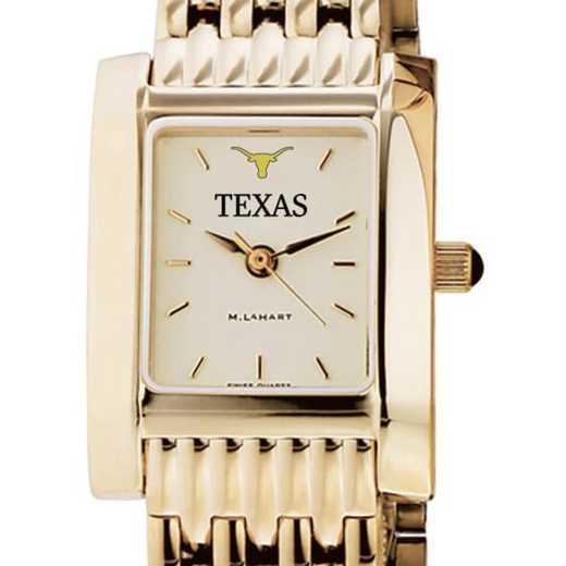 615789888185: Texas Women's Gold Quad Watch with Bracelet