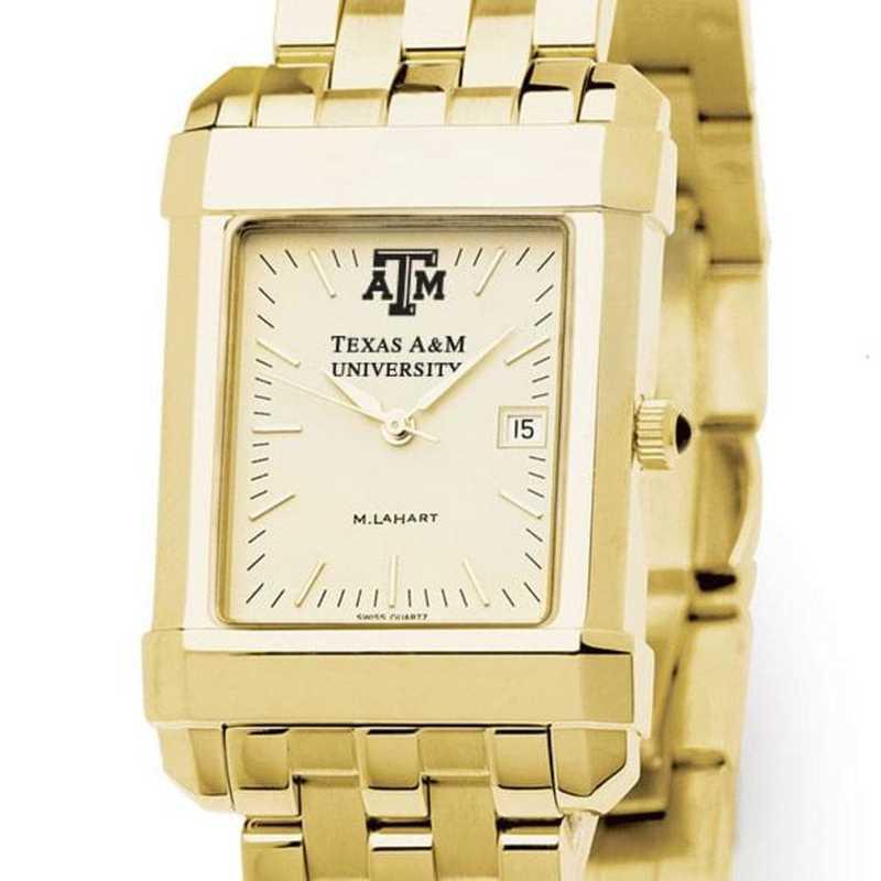 615789765073: Texas A&M Men's Gold Quad Watch with Bracelet