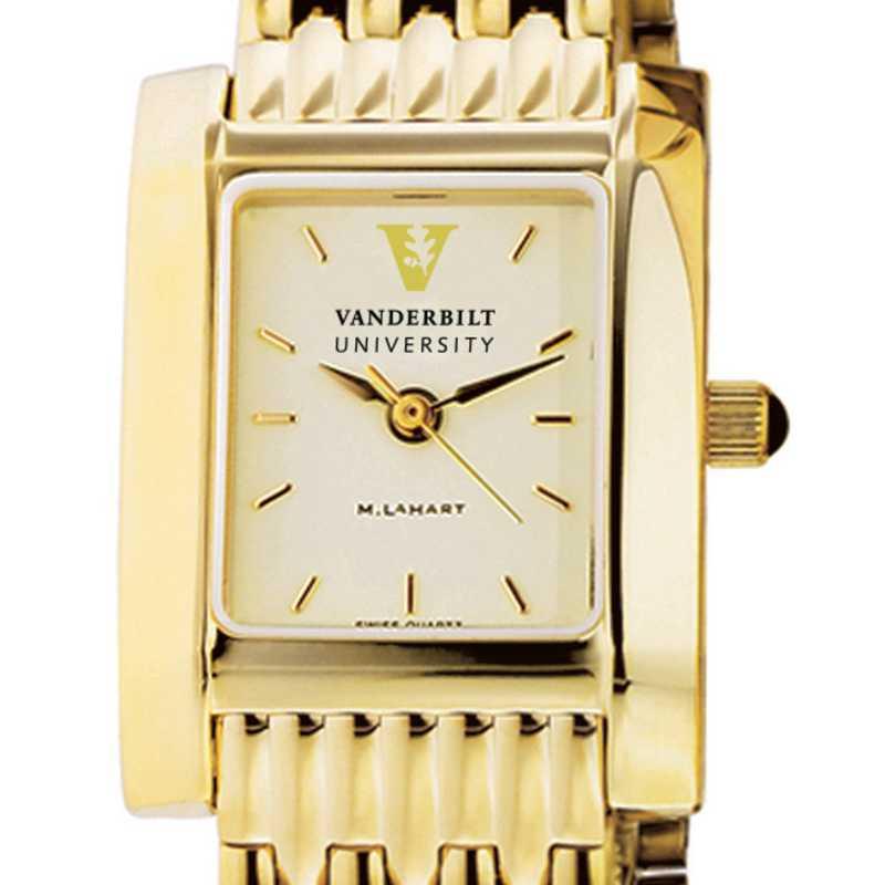 615789405146: Vanderbilt Women's Gold Quad Watch with Bracelet