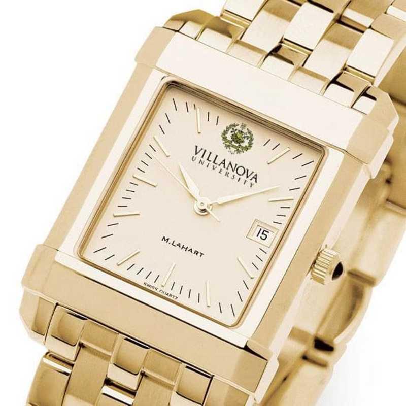 615789111276: Villanova Men's Gold Quad Watch with Bracelet