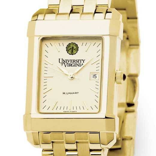 615789413455: UVA Men's Gold Quad Watch with Bracelet