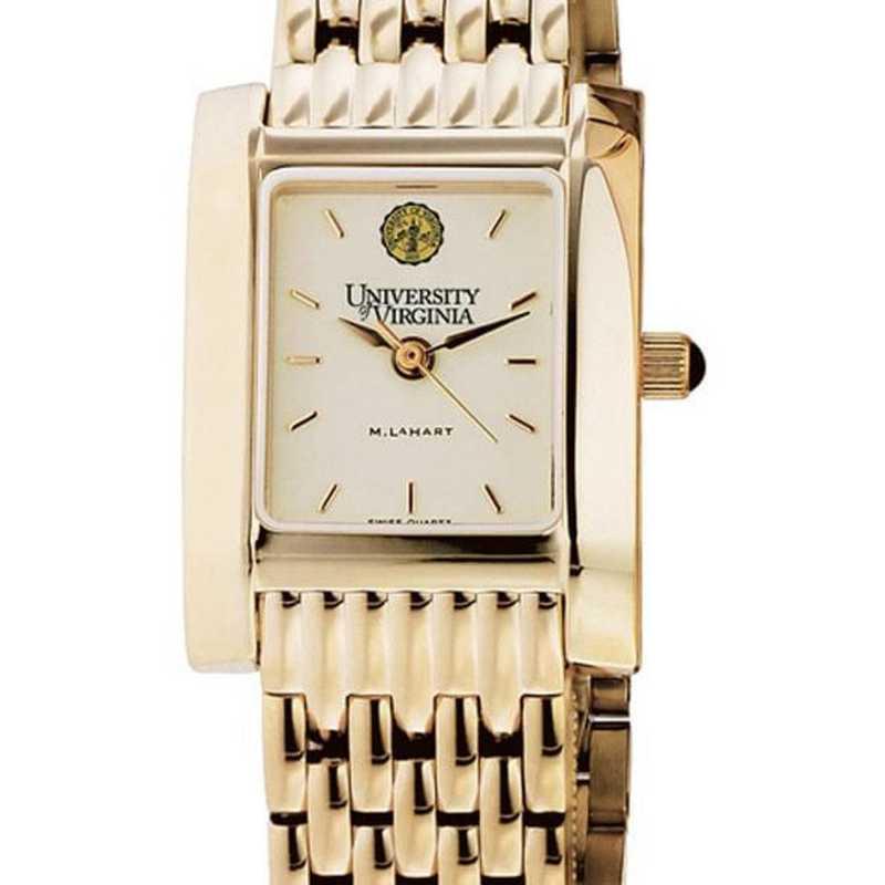 615789586180: UVA Women's Gold Quad Watch with Bracelet