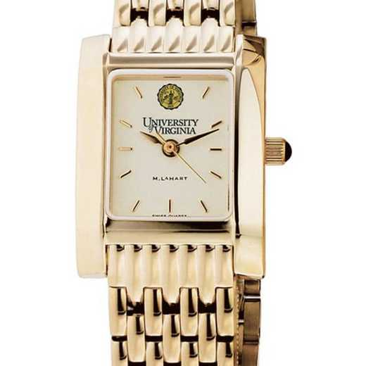 615789586180: UVA Women's Gold Quad Watch with Bracelet