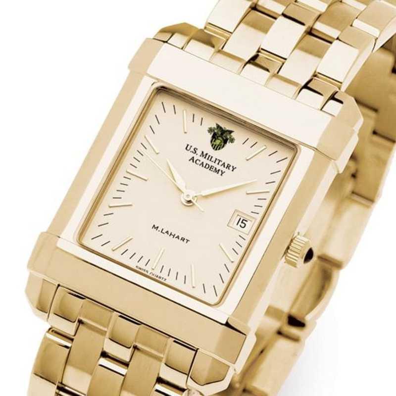 615789290995: West Point Men's Gold Quad Watch with Bracelet