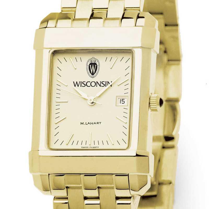 615789303527: Wisconsin Men's Gold Quad Watch with Bracelet
