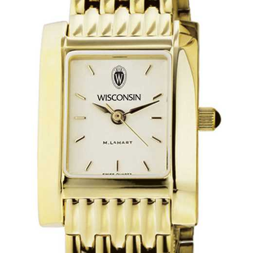 615789504863: Wisconsin Women's Gold Quad Watch with Bracelet