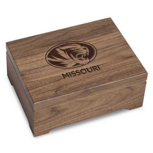 615789243106: University of Missouri Solid Walnut Desk Box