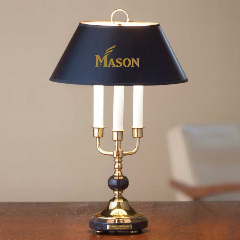 615789394693: George Mason University Lamp in Brass & Marble
