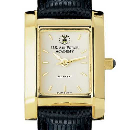 615789027508: USAFA Women's Gold Quad Watch W/ Leather Strap