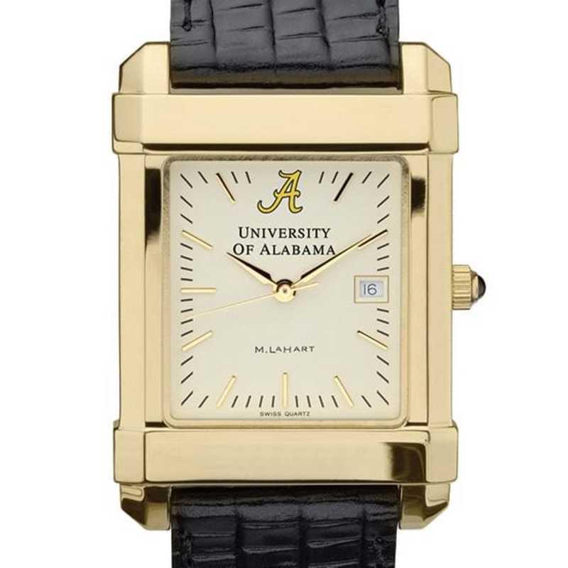 615789917243: Alabama Men's Gold Quad Watch W/ Leather Strap