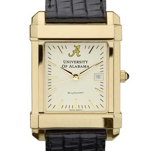 615789917243: Alabama Men's Gold Quad Watch W/ Leather Strap