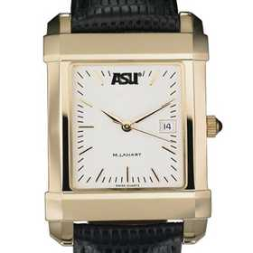 615789114161: ASU Men's Gold Quad Watch W/ Leather Strap