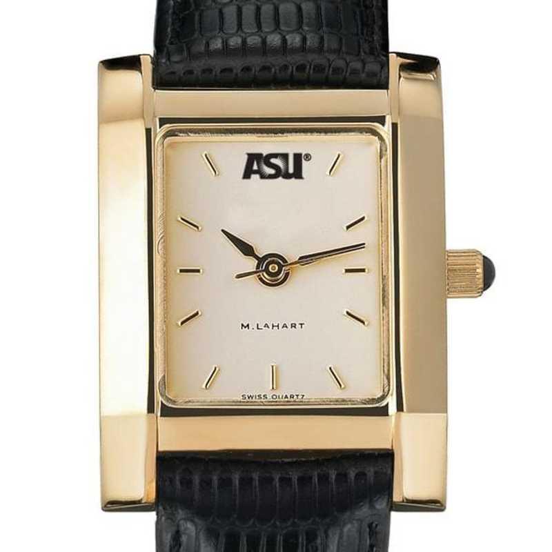615789634942: ASU Women's Gold Quad Watch W/ Leather Strap