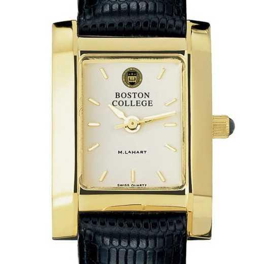 615789067566: Boston College Women's Gold Quad Watch W/ Leather Strap
