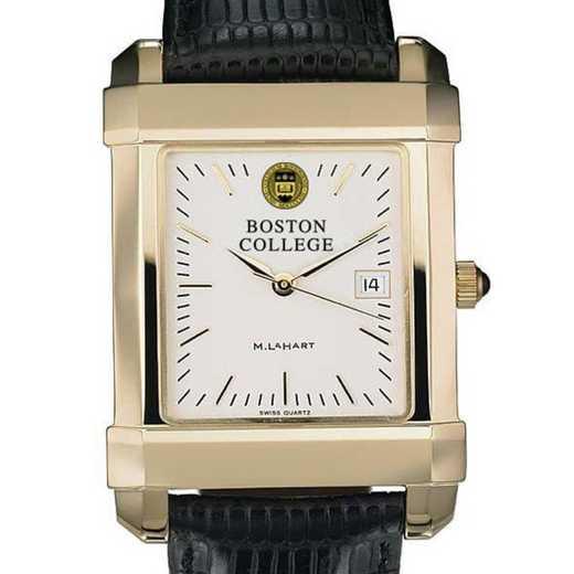 615789452898: Boston College Men's Gold Quad Watch W/ Leather Strap