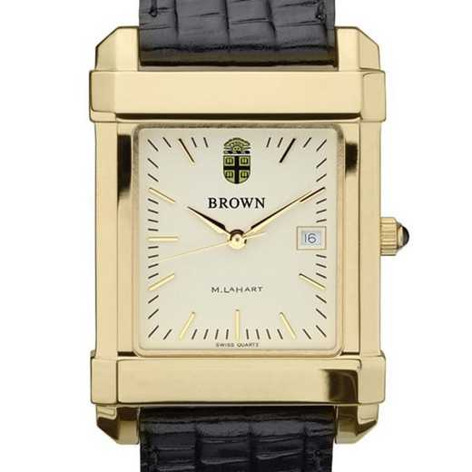 615789712220: Brown Men's Gold Quad Watch W/ Leather Strap
