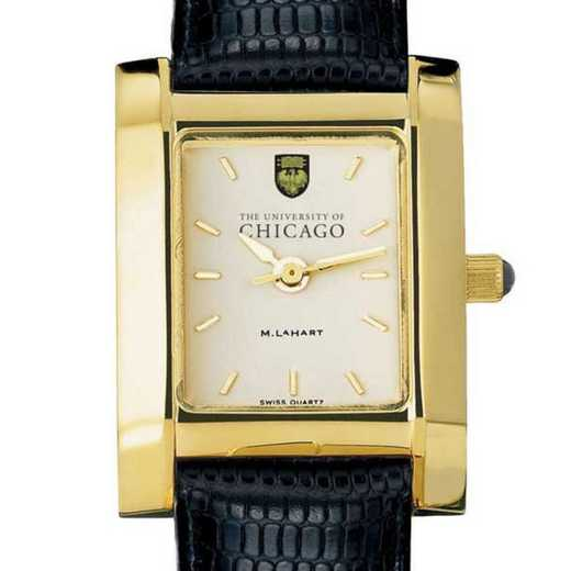 615789925255: Chicago Women's Gold Quad Watch W/ Leather Strap