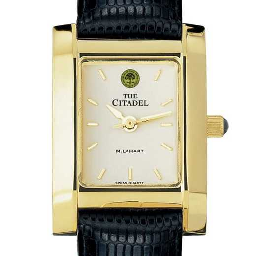 615789023999: Citadel Women's Gold Quad Watch W/ Leather Strap