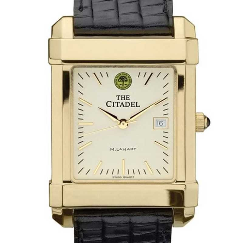615789518587: Citadel Men's Gold Quad Watch W/ Leather Strap