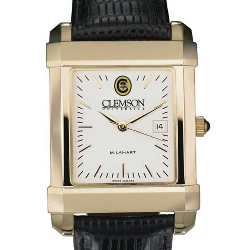 615789871019: Clemson Men's Gold Quad Watch W/ Leather Strap