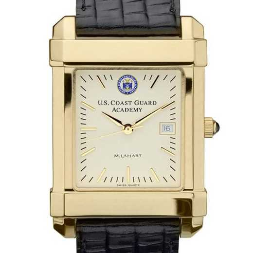 615789048503: USCGA Men's Gold Quad Watch W/ Leather Strap