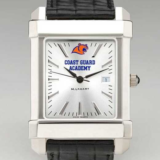 615789111290: Coast Guard Academy Men's Collegiate Watch W/ Leather Strap