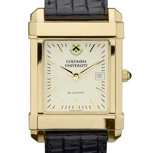 615789410577: Columbia Univ Men's Gold Quad Watch W/ Leather Strap