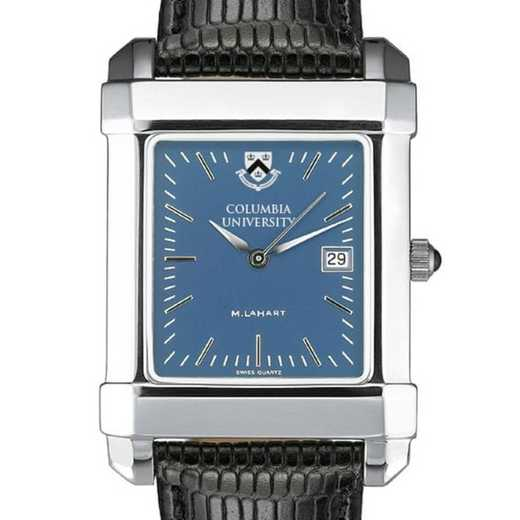 615789410591: Columbia Univ Men's Blue Quad Watch W/ Leather Strap