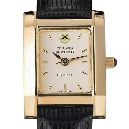 615789410614: Columbia Univ Women's Gold Quad Watch W/ Leather Strap