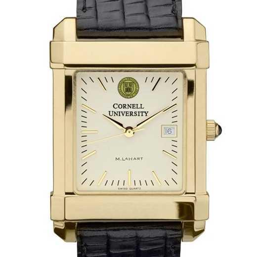 615789411635: Cornell Men's Gold Quad Watch W/ Leather Strap