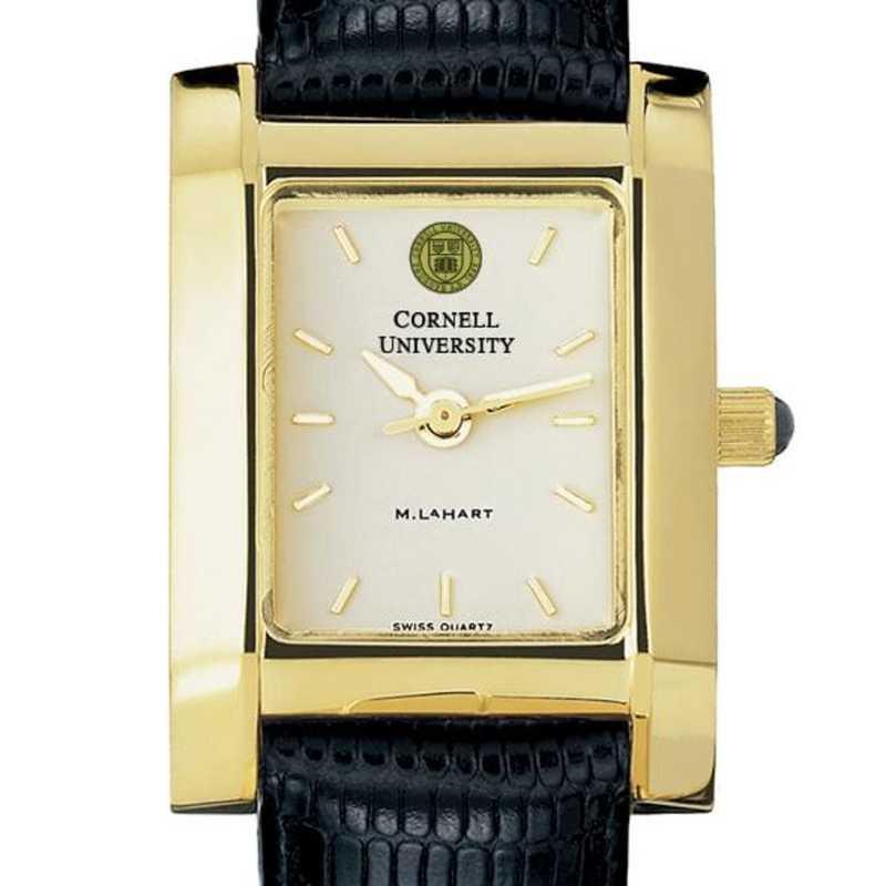 615789411673: Cornell Women's Gold Quad Watch W/ Leather Strap
