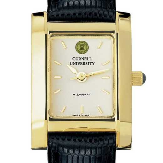 615789411673: Cornell Women's Gold Quad Watch W/ Leather Strap