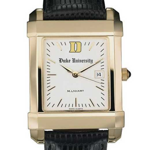 615789860396: Duke Men's Gold Quad Watch W/ Leather Strap