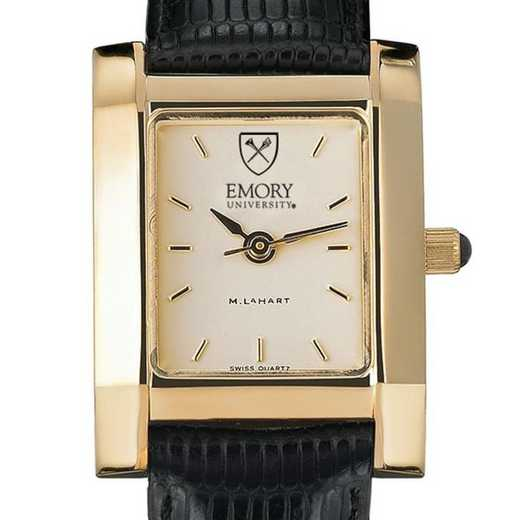 615789669210: Emory Women's Gold Quad Watch W/ Leather Strap