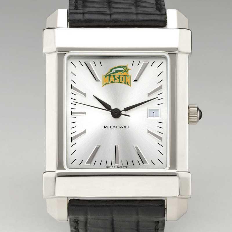 615789640035: George Mason Univ Men's Collegiate Watch W/ Leather Strap