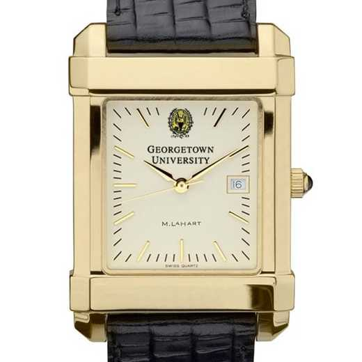 615789232506: Georgetown Men's Gold Quad Watch W/ Leather Strap