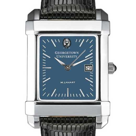 615789831938: Georgetown Men's Blue Quad Watch W/ Leather Strap