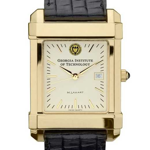 615789432265: Georgia Tech Men's Gold Quad Watch W/ Leather Strap