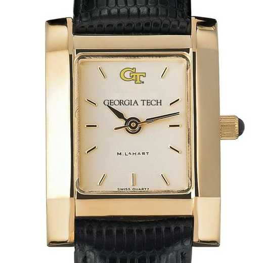 615789949688: Georgia Tech Women's Gold Quad Watch W/ Leather Strap