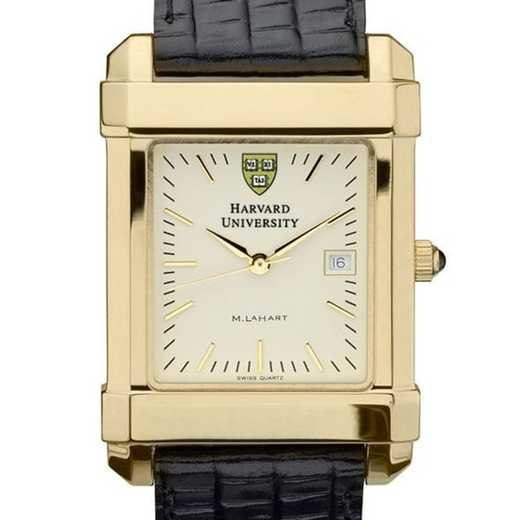 615789410096: Harvard Men's Gold Quad Watch W/ Leather Strap