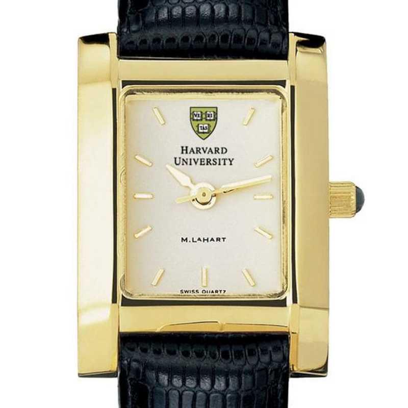 615789410133: Harvard Women's Gold Quad Watch W/ Leather Strap