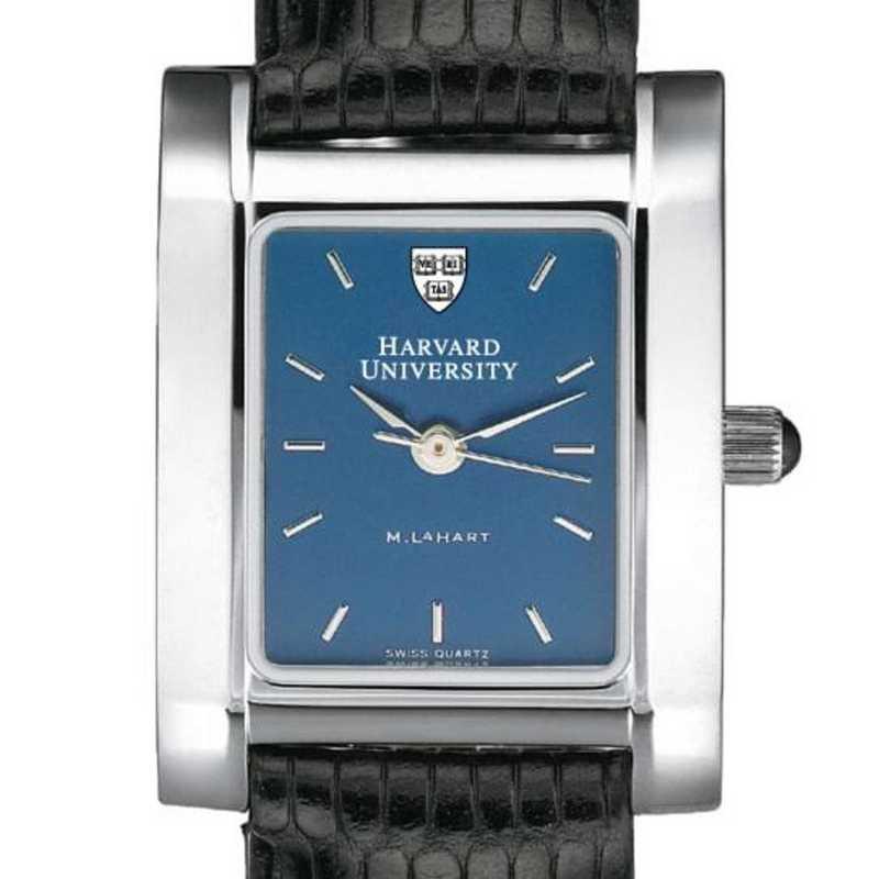 615789410157: Harvard Women's Blue Quad Watch W/ Leather Strap
