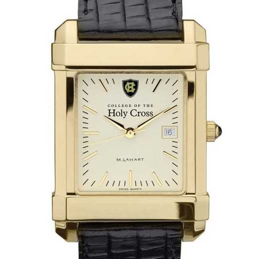 615789200345: Holy Cross Men's Gold Quad Watch W/ Leather Strap