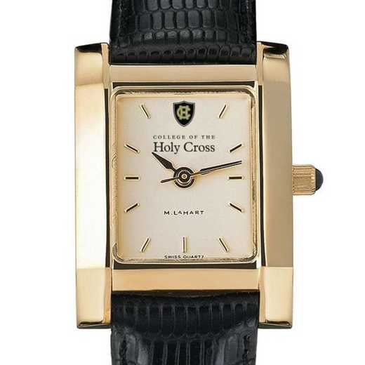 615789676997: Holy Cross Women's Gold Quad Watch W/ Leather Strap