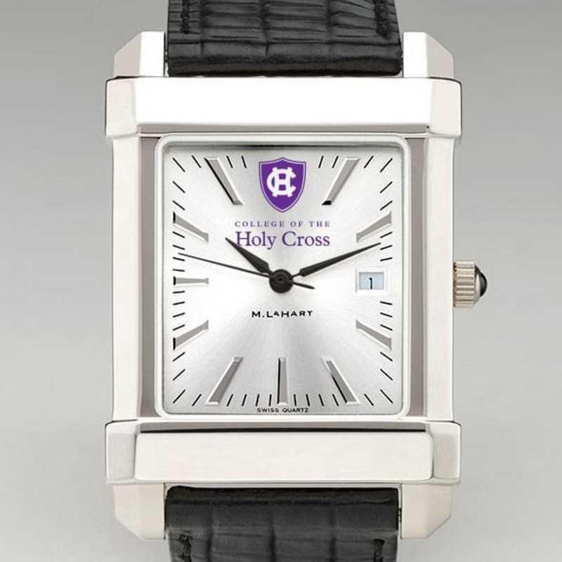 615789680284: Holy Cross Men's Collegiate Watch W/ Leather Strap