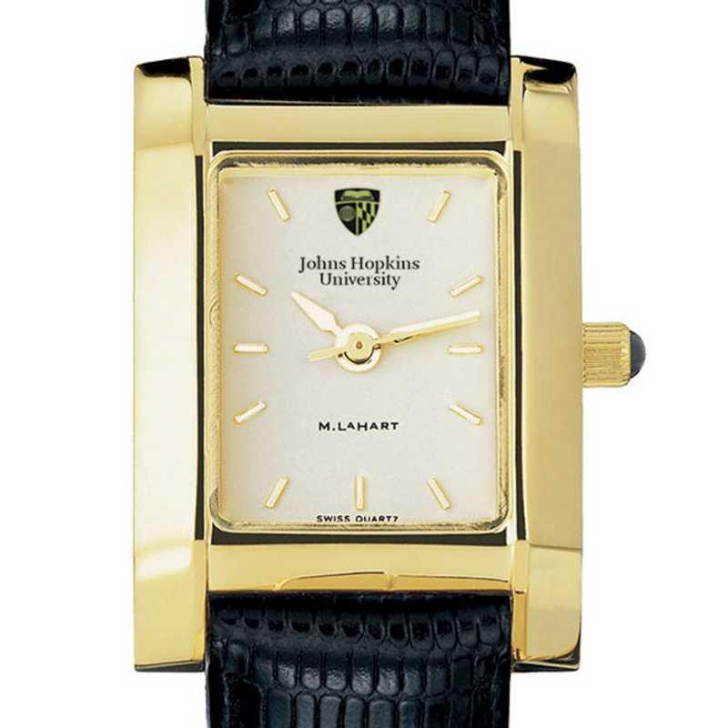 615789620624: Johns Hopkins Women's Gold Quad Watch W/ Leather Strap